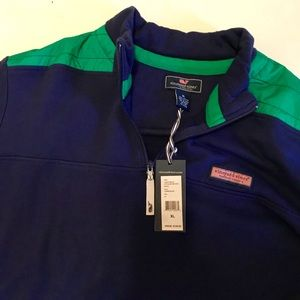 NWT Vineyard Vines Navy and Green Quarter Zip